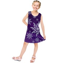 Christmas Star Ice Crystal Purple Background Kids  Tunic Dress
