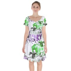 Horse Horses Animal World Green Short Sleeve Bardot Dress by BangZart