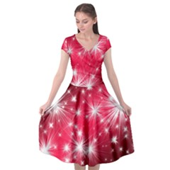 Christmas Star Advent Background Cap Sleeve Wrap Front Dress by BangZart