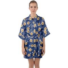 Golden Roses Quarter Sleeve Kimono Robe by jumpercat