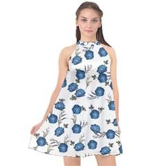 Blue Roses Halter Neckline Chiffon Dress