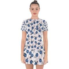 Blue Roses Drop Hem Mini Chiffon Dress