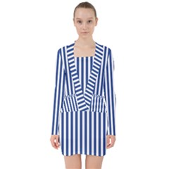 Blue Stripes V Neck Bodycon Long Sleeve Dress by jumpercat