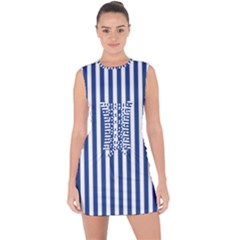 Blue Stripes Lace Up Front Bodycon Dress by jumpercat