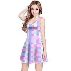 Gingham Nursery Baby Blue Pink Reversible Sleeveless Dress by BangZart
