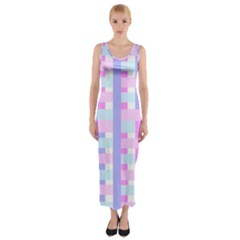 Gingham Nursery Baby Blue Pink Fitted Maxi Dress by BangZart
