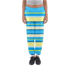 Stripes Yellow Aqua Blue White Women s Jogger Sweatpants by BangZart