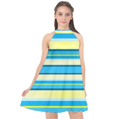 Stripes Yellow Aqua Blue White Halter Neckline Chiffon Dress  by BangZart