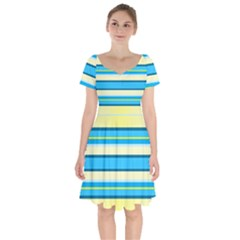 Stripes Yellow Aqua Blue White Short Sleeve Bardot Dress by BangZart