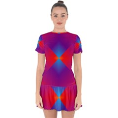 Geometric Blue Violet Red Gradient Drop Hem Mini Chiffon Dress by BangZart