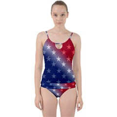 America Patriotic Red White Blue Cut Out Top Tankini Set by BangZart