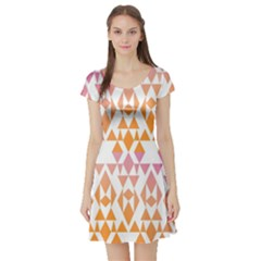 Geometric Abstract Orange Purple Short Sleeve Skater Dress by BangZart