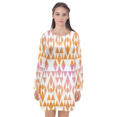 Geometric Abstract Orange Purple Long Sleeve Chiffon Shift Dress  by BangZart