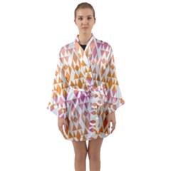 Geometric Abstract Orange Purple Long Sleeve Kimono Robe by BangZart