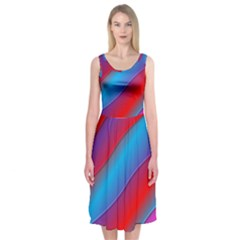Diagonal Gradient Vivid Color 3d Midi Sleeveless Dress