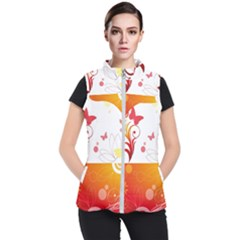 Spring Butterfly Flower Plant Women s Puffer Vest by BangZart