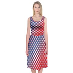 Dots Red White Blue Gradient Midi Sleeveless Dress
