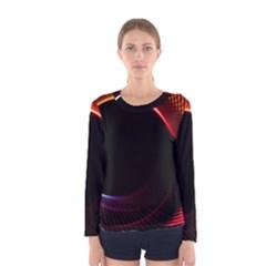 Grid Bent Vibration Ease Bend Women s Long Sleeve Tee by BangZart