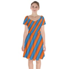 Diagonal Stripes Striped Lines Short Sleeve Bardot Dress by BangZart
