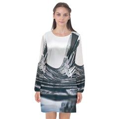 Architecture Modern Skyscraper Long Sleeve Chiffon Shift Dress  by BangZart