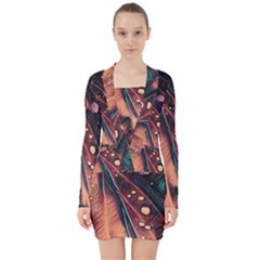 Abstract Wallpaper Images V Neck Bodycon Long Sleeve Dress by BangZart
