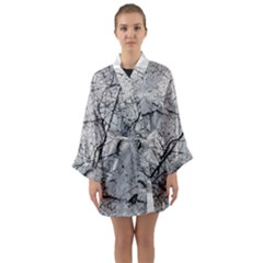 Abstract Background Texture Grey Long Sleeve Kimono Robe