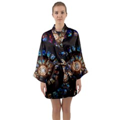 Stained Glass Spiral Circle Pattern Long Sleeve Kimono Robe