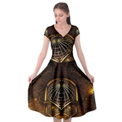 Fractal 3d Render Design Backdrop Cap Sleeve Wrap Front Dress