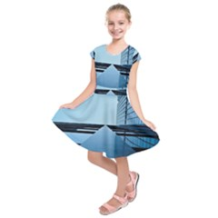 Architecture Modern Building Facade Kids  Short Sleeve Dress