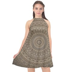 Background Mandala Halter Neckline Chiffon Dress