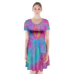 Abstract Fantastic Fractal Gradient Short Sleeve V Neck Flare Dress by BangZart