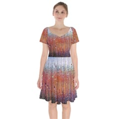 Glass Colorful Abstract Background Short Sleeve Bardot Dress