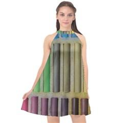 Pastels Cretaceous About Color Halter Neckline Chiffon Dress  by BangZart