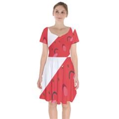 Watermelon Red Network Fruit Juicy Short Sleeve Bardot Dress