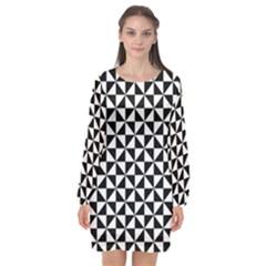 Triangle Pattern Simple Triangular Long Sleeve Chiffon Shift Dress  by BangZart
