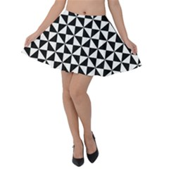 Triangle Pattern Simple Triangular Velvet Skater Skirt by BangZart