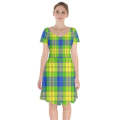 Spring Plaid Yellow Blue And Green Short Sleeve Bardot Dress