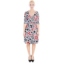 Square Objects Future Modern Wrap Up Cocktail Dress