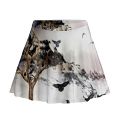 Birds Crows Black Ravens Wing Mini Flare Skirt by BangZart