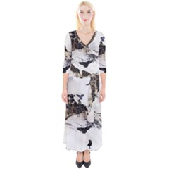 Birds Crows Black Ravens Wing Quarter Sleeve Wrap Maxi Dress by BangZart