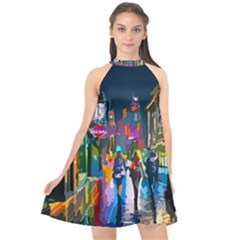 Abstract Vibrant Colour Cityscape Halter Neckline Chiffon Dress