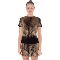 Tree Bushes Black Nature Landscape Drop Hem Mini Chiffon Dress by BangZart