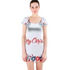 Merry Christmas Christmas Greeting Short Sleeve Bodycon Dress