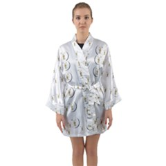 Angels Under The  Sun And Peace Doves Long Sleeve Kimono Robe