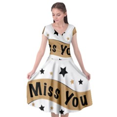Lettering Miss You Banner Cap Sleeve Wrap Front Dress by BangZart