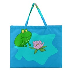 Frog Flower Lilypad Lily Pad Water Zipper Large Tote Bag by BangZart