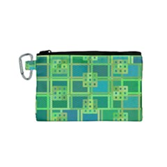 Green Abstract Geometric Canvas Cosmetic Bag (small) by BangZart