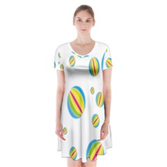 Balloon Ball District Colorful Short Sleeve V Neck Flare Dress by BangZart