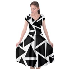 Template Black Triangle Cap Sleeve Wrap Front Dress