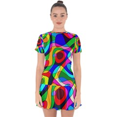Digital Multicolor Colorful Curves Drop Hem Mini Chiffon Dress by BangZart